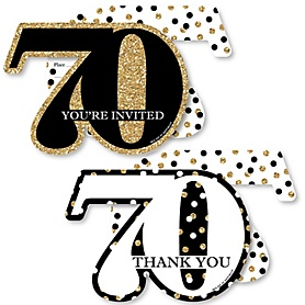 Adult 70th Birthday - Gold - 20 Shaped Fill-In Invitations and 20 Shaped Thank You Cards Kit - Birthday Party Stationery Kit - 40 Pack