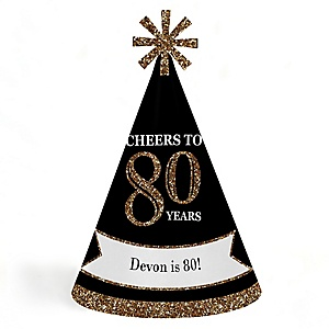 Adult 80th Birthday - Gold - Personalized Cone Happy Birthday Party Hats for Kids and Adults - Set of 8 (Standard Size)