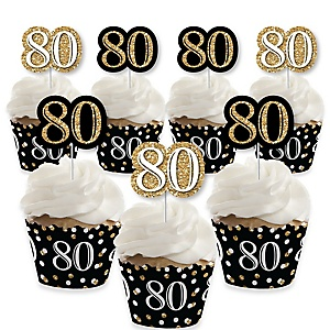 Adult 80th Birthday - Gold - Cupcake Decorations - Birthday Party Cupcake Wrappers and Treat Picks Kit - Set of 24