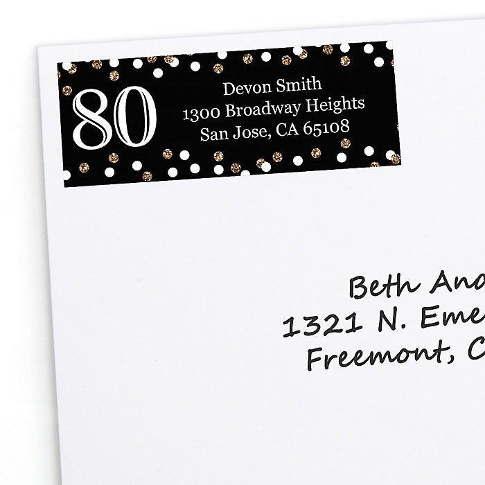 Adult 80th Birthday - Gold - Personalized Birthday Party Return Address Labels - 30 ct