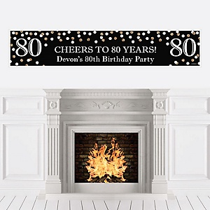 Adult 80th Birthday - Gold - Personalized Birthday Party Banner