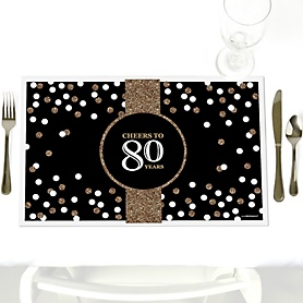 Adult 80th Birthday - Gold - Party Table Decorations - Birthday Party Placemats - Set of 12