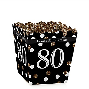 Adult 80th Birthday - Gold - Party Mini Favor Boxes - Personalized Birthday Party Treat Candy Boxes - Set of 12