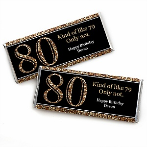 Adult 80th Birthday - Gold - Personalized Candy Bar Wrappers Birthday Party Favors - Set of 24