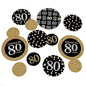 Adult 80th Birthday - Gold - Birthday Party Giant Circle Confetti – Birthday Party Decorations - Large Confetti 27 Count