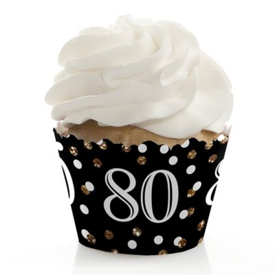 Adult 80th Birthday Gold Birthday Party Cupcake Wrappers