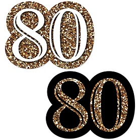 Adult 80th Birthday - Gold - DIY Shaped Party Paper Cut-Outs - 24 ct