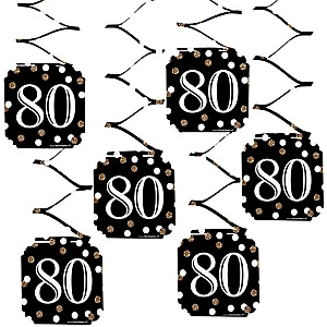 Adult 80th Birthday - Gold - Birthday Party Hanging Decorations - 6 ct