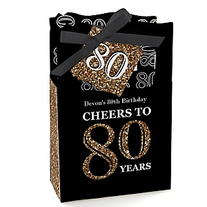 Adult 80th Birthday - Gold - Personalized Birthday Party Favor Boxes - Set of 12