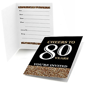 Adult 80th Birthday - Gold - Birthday Party Fill In Invitations - 8 ct