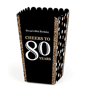 Adult 80th Birthday - Gold - Personalized Birthday Party Popcorn Favor Treat Boxes - Set of 12
