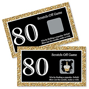 Adult 80th Birthday - Gold - Birthday Party Game Scratch Off Cards - 22 ct