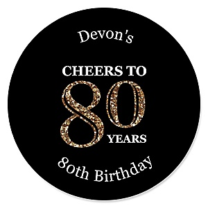 Adult 80th Birthday - Gold - Personalized Birthday Party Sticker Labels - 24 ct