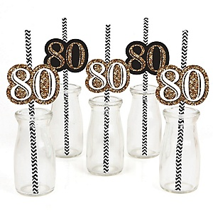 Adult 80th Birthday - Gold - Paper Straw Decor - Birthday Party Striped Decorative Straws - Set of 24