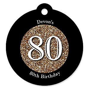 Adult 80th Birthday - Gold - Round Personalized Birthday Party Tags - 20 ct