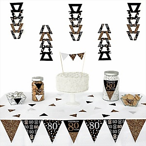 Adult 80th Birthday - Gold -  Triangle Birthday Party Decoration Kit - 72 Piece