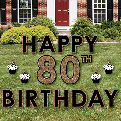 Hy 80th Birthday Gold Yard Sign Outdoor Lawn Decorations Signs