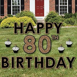 Happy 80th Birthday - Gold - Yard Sign Outdoor Lawn Decorations - Adult 80th Birthday Yard Signs