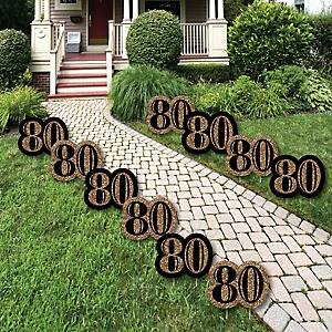 80th Birthday Gold Lawn Decorations Outdoor Party Yard 10 Piece