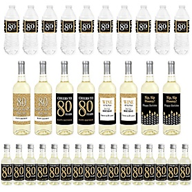 Adult 80th Birthday - Gold - Mini Wine Bottle Labels, Wine Bottle Labels and Water Bottle Labels - Birthday Party Decorations - Beverage Bar Kit - 34 Pieces