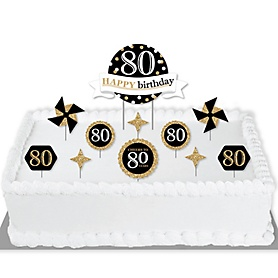 Adult 80th Birthday - Gold - Birthday Party Cake Decorating Kit - Happy Birthday Cake Topper Set - 11 Pieces