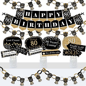 Adult 80th Birthday - Gold - Banner and Photo Booth Decorations - Birthday Party Supplies Kit - Doterrific Bundle