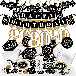 Adult 80th Birthday - Gold - Birthday Party Supplies - Banner Decoration Kit - Fundle Bundle