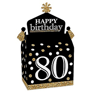 Adult 80th Birthday - Gold - Treat Box Party Favors - Birthday Party Goodie Gable Boxes - Set of 12