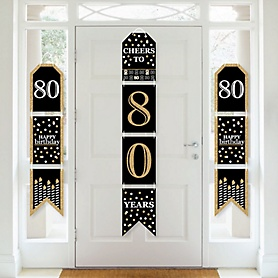 Adult 80th Birthday - Gold - Hanging Vertical Paper Door Banners - Birthday Party Wall Decoration Kit - Indoor Door Decor