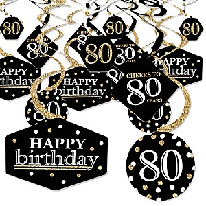 Adult 80th Birthday - Gold - Birthday Party Hanging Decor - Party Decoration Swirls - Set of 40