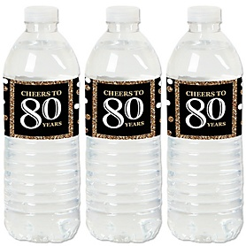 Adult 80th Birthday - Gold - Birthday Party Water Bottle Sticker Labels - Set of 20