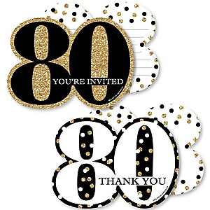 Adult 80th Birthday - Gold - 20 Shaped Fill-In Invitations and 20 Shaped Thank You Cards Kit - Birthday Party Stationery Kit - 40 Pack