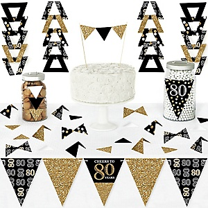 Adult 80th Birthday - Gold - DIY Pennant Banner Decorations - Birthday Party Triangle Kit - 99 Pieces