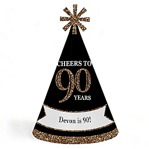 Adult 90th Birthday - Gold - Personalized Cone Happy Birthday Party Hats for Kids and Adults - Set of 8 (Standard Size)