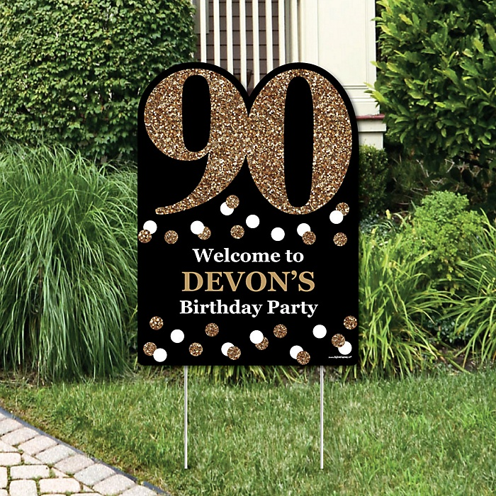 Adult 90th Birthday - Gold - Party Decorations - Birthday Party Personalized Welcome Yard Sign