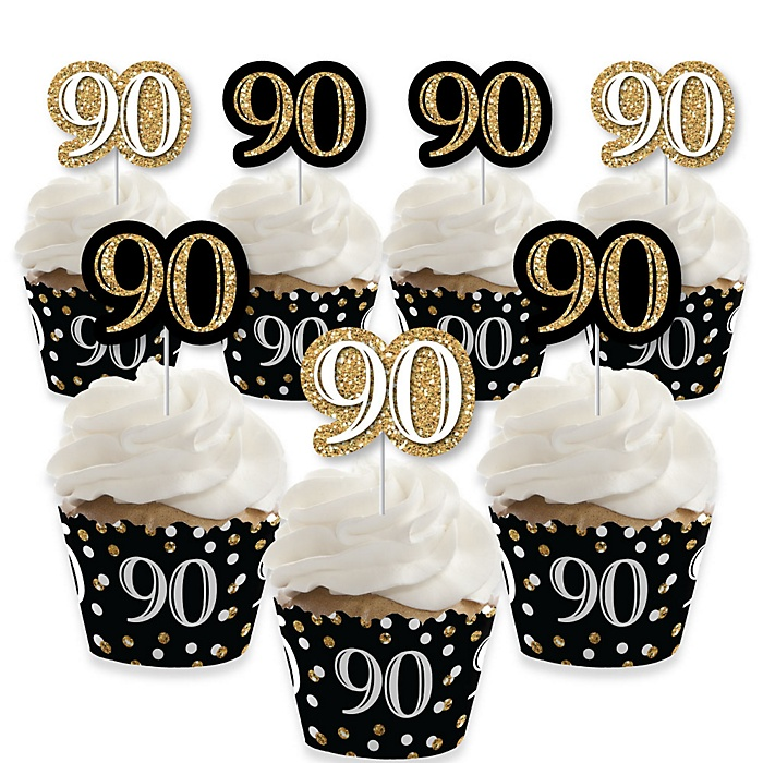 Adult 90th Birthday - Gold - Cupcake Decorations - Birthday Party Cupcake Wrappers and Treat Picks Kit - Set of 24