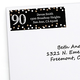 Adult 90th Birthday - Gold - Personalized Birthday Party Return Address Labels - 30 ct