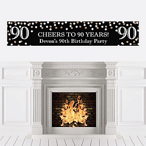 Adult 90th Birthday - Gold - Personalized Birthday Party Banner