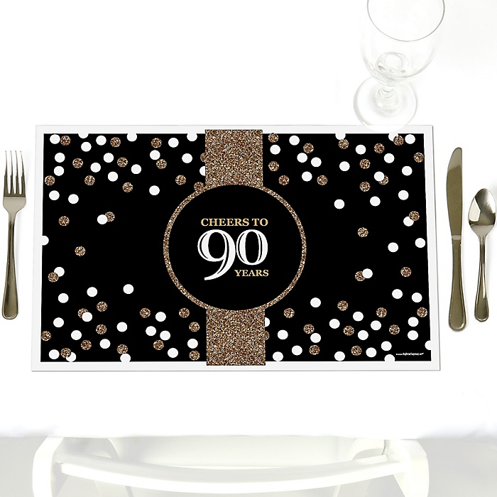 Adult 90th Birthday - Gold - Party Table Decorations - Birthday Party Placemats - Set of 12