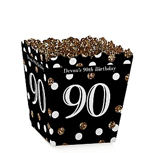Adult 90th Birthday - Gold - Party Mini Favor Boxes - Personalized Birthday Party Treat Candy Boxes - Set of 12