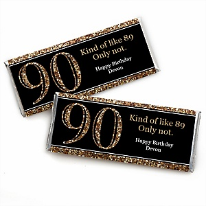 Adult 90th Birthday - Gold - Personalized Candy Bar Wrappers Birthday Party Favors - Set of 24