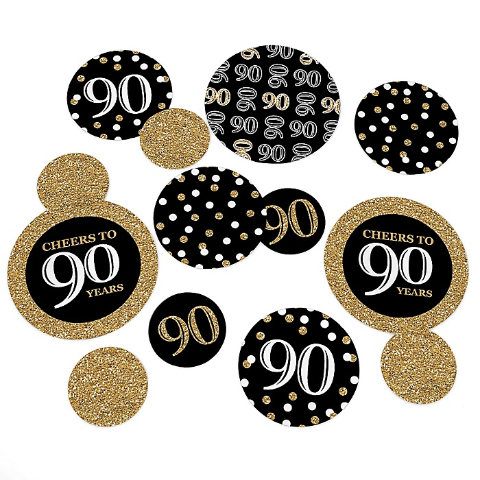 Adult 90th Birthday - Gold - Birthday Party Giant Circle Confetti – Birthday Party Decorations - Large Confetti 27 Count