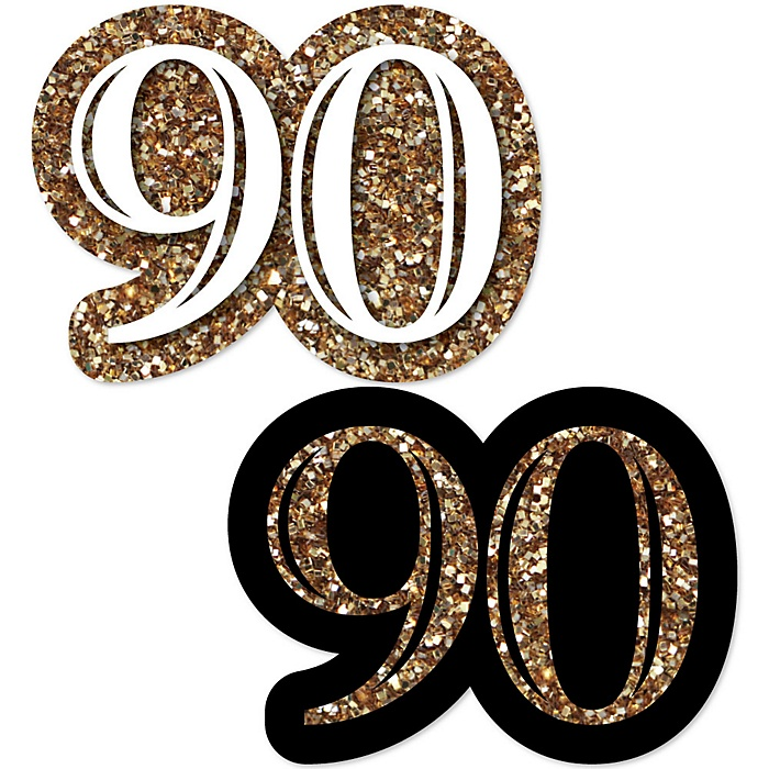 Adult 90th Birthday - Gold - DIY Shaped Party Paper Cut-Outs - 24 ct