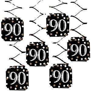 Adult 90th Birthday - Gold - Birthday Party Hanging Decorations - 6 ct