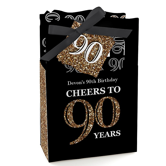Adult 90th Birthday - Gold - Personalized Birthday Party Favor Boxes - Set of 12
