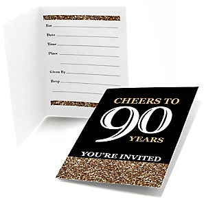 Adult 90th Birthday - Gold - Birthday Party Fill In Invitations - 8 ct