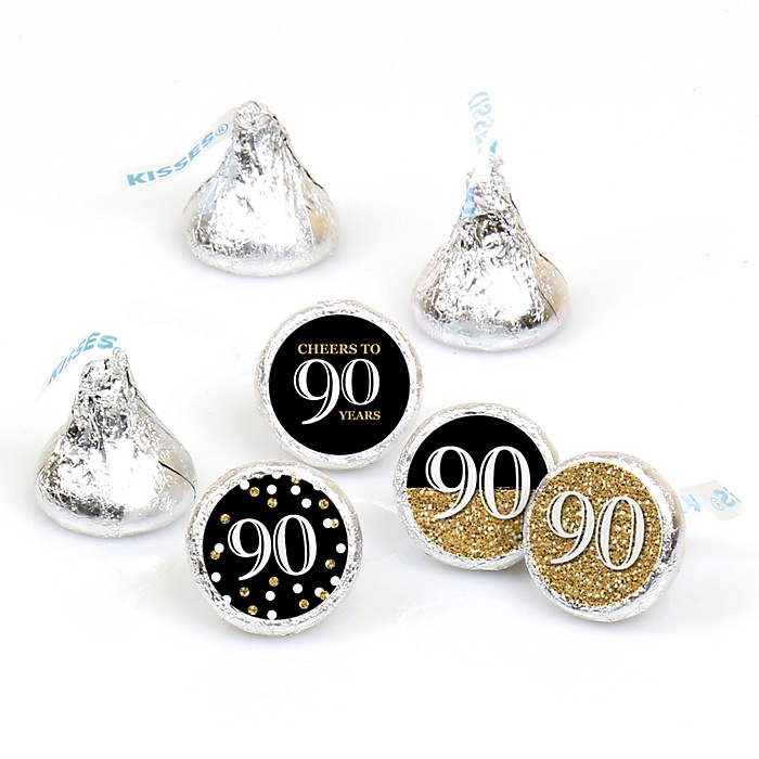 Adult 90th Birthday - Gold - Round Candy Labels Birthday Party Favors - Fits Hershey's Kisses - 108 ct