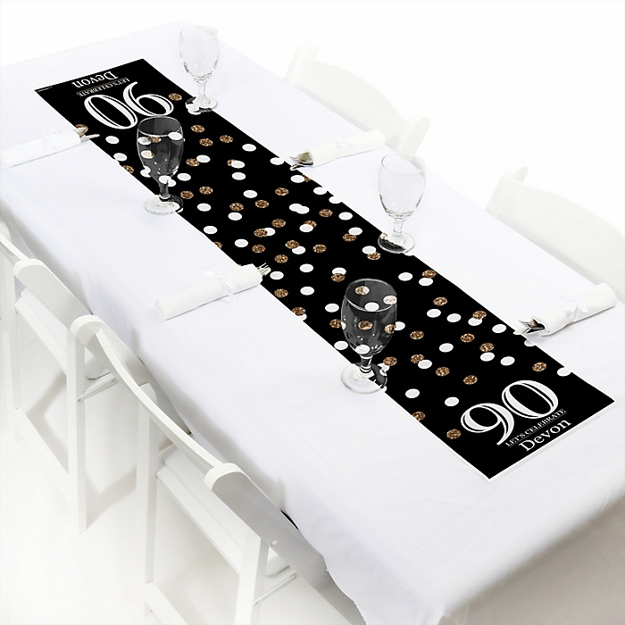 Adult 90th Birthday - Gold - Personalized Birthday Party Petite Table Runner