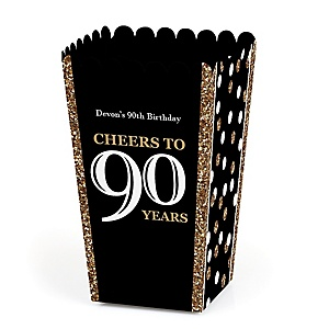 Adult 90th Birthday - Gold - Personalized Birthday Party Popcorn Favor Treat Boxes - Set of 12