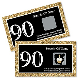 Adult 90th Birthday - Gold - Birthday Party Game Scratch Off Cards - 22 ct